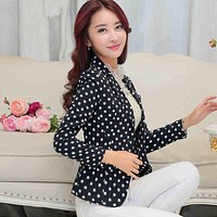 Women Slim Black Blazer Polka Dot Print Jacket,Blazer Feminino,Women Casual Spring Blazer Small Suit Jacket Blazers Tops C2346