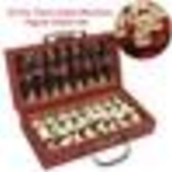 Newest Chinese Wood Leather Box With 32 Pieces Terra Cotta Figure Chess Set Entertainment Checkers Chess Traditional Games