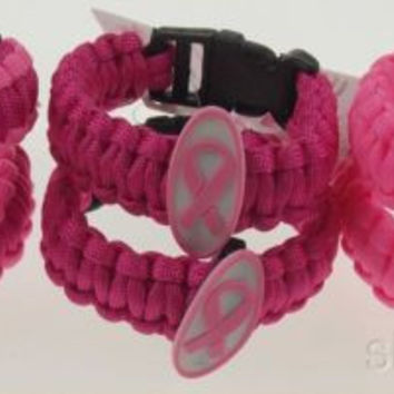 Lot 6 Pink Power Breast Cancer Awareness Parachute Bracelet Cord Wristband NEW