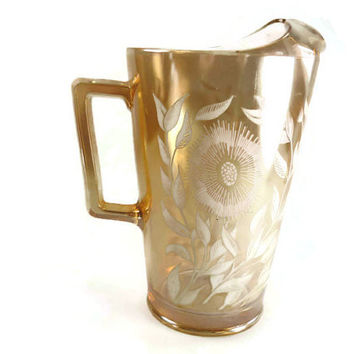Jeannette Cosmos Pitcher Marigold Carnival Glass