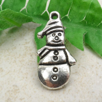 8 Silver Snowman Charm, Winter, Holiday, Craft Supplies, Tibetan Silver, 10mm x 25mm  C47
