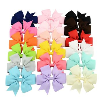 18pcs/lot 3 inch Solid Environmental Grosgrain Ribbon Boutique Bows without Clips for Decoration Kids Girl Hair Accessories 564