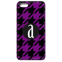 Houndstooth Phone Case with Initial-Black and Purple