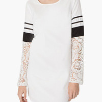 White Long Sleeve Striped with Floral Lace Mini Dress
