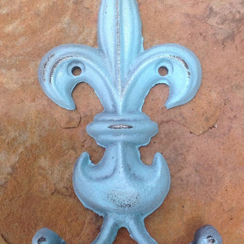Aqua blue shabby painted and  distressed fleur de lis wall decoration, jewelry holder, key holder, towel rack