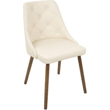 Giovanni Mid-Century Modern Dining Chair, Walnut & Cream Quilted PU