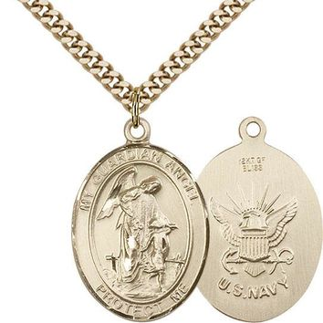 14K Gold Filled Guardian Angel Navy Military Soldier Catholic Medal Necklace 617759453669