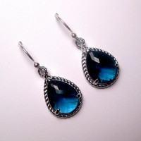 Royal Blue Rope Set Drop Earrings With Sterling Silver