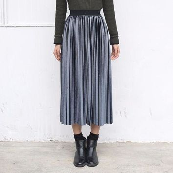 VONG2W Yichaoyiliang Women Summer American European Fashion Pleated Striped Midi Velvet Skirts High Waist Skirts Metallic Silver Skirts