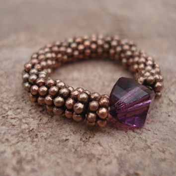 Amethyst Swarovski Crystal Ring with Antique Copper Daisy Shape Beads, Stretch Ring, For Her