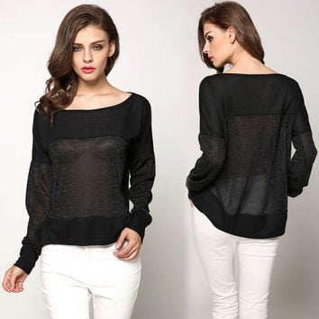 Sexy Women Casual O-Neck Long Sleeve Blouse Splice Loose Sheer Asymmetric Hem Blouse Tops