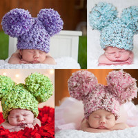 Custom Toddler Hat, 1T to 2T Soft Chunky Crochet Double Pom Pom Mouse Ear Hat - 16 Colors Available Toddler Girl Hat, Toddler Boy Hat