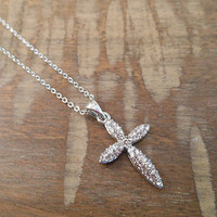 Silver Rhinestone Cross Necklace | Candy's Cottage