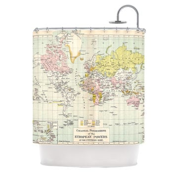 "Catherine Holcombe ""Travel"" World Map Shower Curtain"