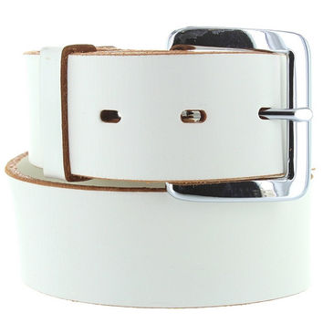Kixters Quaker Belt - Unisex White Leather Silver-Tone Buckle Belt