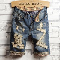 Embroidery Men Ripped Holes Stylish Jeans [3444984807517]