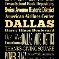 Dallas, Texas, Typography Art Poster / Bus  / Transit / Subway Roll Art 18X24 - Dallas's Attractions Wall Art Decoration -  LHA-182