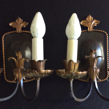 Vintage Pair Antique Double Arm Victorian Wall Sconces Art Nouveau 1920s