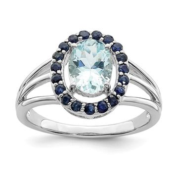 Sterling Silver Genuine Oval Aquamarine And Blue Sapphire Halo Ring