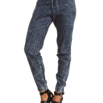 Acid Wash Chambray Jogger Pants by Charlotte Russe - Indigo Denim
