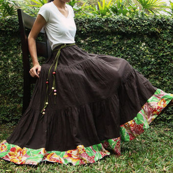 NO.25 Dark Brown Cotton, Hippie Gypsy Boho Tiered Long Peasant Skirt