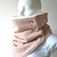 Woman scarf.women cowl,Extra Wide, flecked wool in mamey color and ecru, fully lined in faux sheep skin.Chunky  and cozy.READY TO SHIP.