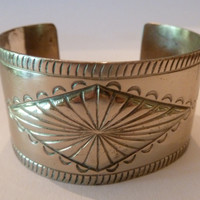 Vintage Navajo Bell Trading Company Nickel Silver Cuff Native American Indian Bracelet Engraved Southwestern