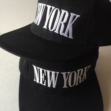 NY NEW YORK CITY Black Embroidered Set of 2 One Size Fits All Snapback Cap Hat