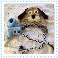 Floppy Ears Puppy Dog Hat Beanie Baby Booties -Hand Crochet Blue Ankle Boots Shoes Gift Set Baby Shower Gift Newborn Infant Photo Prop