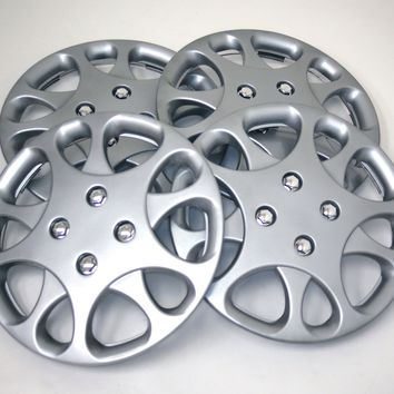 "Set of 4  Metallic Silver Hubcaps 14"" WSC-821S14 - Hub Caps Wheel Skin Cover 14 Inches 4 Pcs Set"