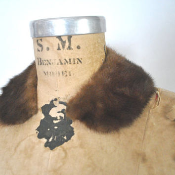 Brown Mink Fur Collar / peter pan / small