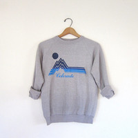 vintage gray Colorado sweatshirt / 1970s Colorado Mountain scene