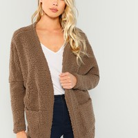 Faux Fur Open Front Teddy Coat