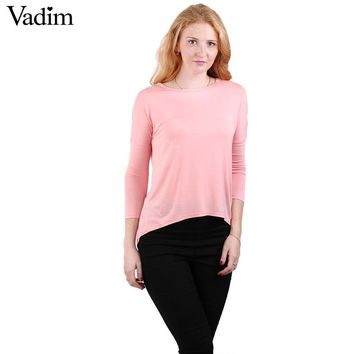 Women O neck Casual Basic T shirt Elastic brief shirts Three Quarter sleeve tees tops 5 colors