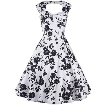 Partiss Women 1950s Vintage Floral Print Evening Party Rockabilly Swing Dress
