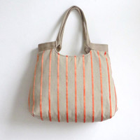 Orange striped weekender tapestry hobo bag with by madebynanna