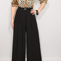 High waist Wide leg pants Black pants with pockets