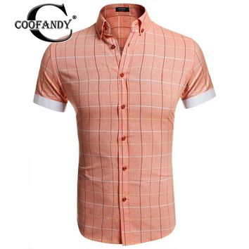 COOFANDY Men's Casual Short-Sleeve Single-breasted Button Down Plaid Shirt