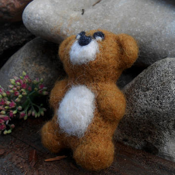 Needle Felted Bear Animal Felt Teddy Bear Wool Bear Ornament Bear Felt Toy Woodland Bear Christmas Gift Needle Felt Animal Love