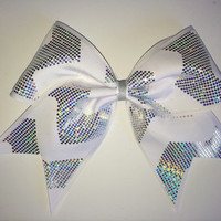 The Arianna - Silver and White Chevron Cheer Bow