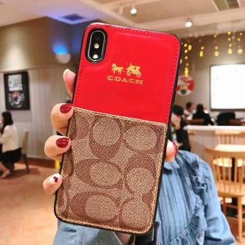 Coach Popular Women Men Personality Card Mobile Phone Cover Case For iphone 7plus 8 8plus X XsMax XR Red