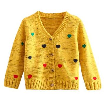 Mudkingdom Toddler Girls Winter Warm V Neck Sweaters Children Long Sleeve Buttoned Sweatshirts Kids Baby Girl Clothes Fall 2017