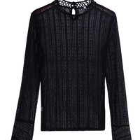 Black Bell Long Sleeve Sheer Lace Blouse