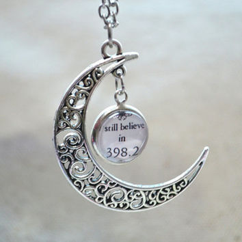 "The fairy tale necklace,Crescent Moon Necklace,""I still believe in 398.2""pendnat necklace,3D hallow picture necklace,bib necklace (XL005)"