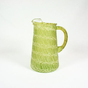 Vintage Glass Spaghetti Ware Short Pitcher Lime Green