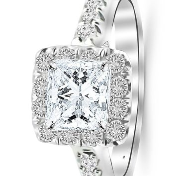 d.1.5 Carat 14K White Gold Square Halo Cushion GIA Certified Princess Cut Diamond Engagement Ring (1 Ct K Color VS1 Clarity Center Stone)