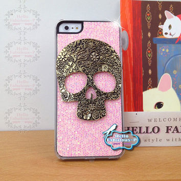 Skull iPhone 5 Case Skull iPhone 5 Case Cover Cell Phone Case Cover Pink Glitter Plastic Cover Steampunk Handmade Cover
