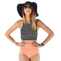Fashion Women Bikini Set Sport Tank Striped Top + High Waisted Pink/Orange Bottom Summer high waist swimwear Swimsuits sexy