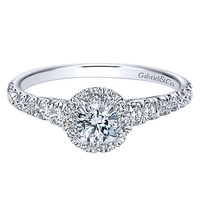 14K White Gold .62cttw Halo Round Diamond Engagement Ring