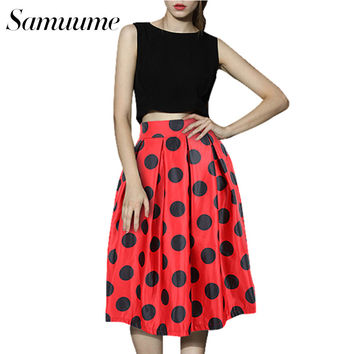 Samuume Fashion Polka Dots Printed Pleated Skirts Women 2017  Elastic High Waist Umbrella Midi Skirt Saias Faladas A148024